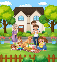 Foto op Textielframe Kids Family member cartoon character in the garden