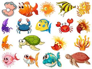 Foto op Textielframe Kids Set of sea creature