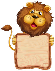 Photo sur cadre textile Jeunes enfants Board template with cute lion on white background