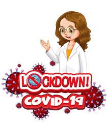 Photo sur cadre textile Jeunes enfants Coronavirus poster design with word lockdown and happy doctor