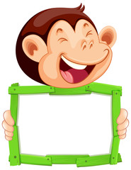 Photo sur cadre textile Jeunes enfants Blank sign template with cute monkey on white background