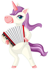 Cute purple unicorn in playing accordion position on white background