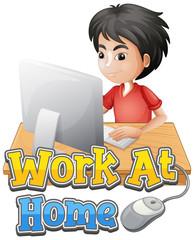 Photo sur cadre textile Jeunes enfants Font design for work from home with boy doing homework