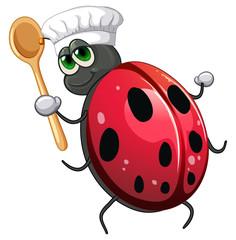 Foto op Textielframe Kids Ladybug chef cartoon character