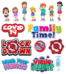 Foto auf Gartenposter Kinder Member of family and coronavirus sign and symbol in cartoon style