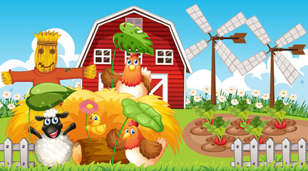 Photo sur cadre textile Jeunes enfants Farm theme background with farm animals