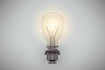 Close-up Of Illuminated Light Bulb Against White Wall - fototapety na wymiar