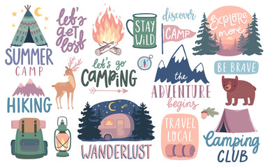 Camping, Hiking, Adventure letterings. Wild animals, fireplace, mountains, tents and other elements.