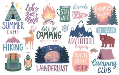 Papiers peints Echelle de hauteur Camping, Hiking, Adventure letterings. Wild animals, fireplace, mountains, tents and other elements.