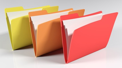 Close-up Of File Folders Against Gray Background - fototapety na wymiar