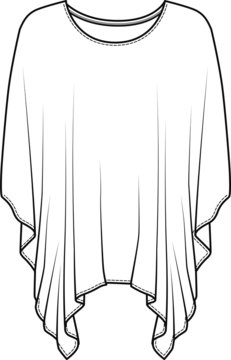 Womens Oversized Top. Oversized Shirts for Women Fashion Flat Sketch, apparel template, vector