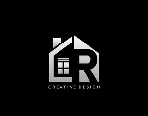 R Letter Logo. Negative Space of Initial R With  Minimalist House Shape Icon.