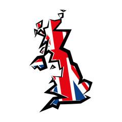Fototapeta Wielka Brytania. Obrys mapy. Brytyjska flaga. Ilustracja wektorowa. obraz