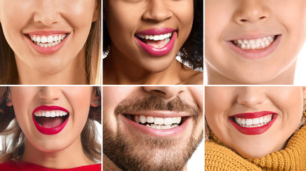 Fotomurales - Collage of photos with different smiling people, closeup