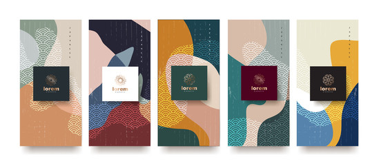 Landscape vector set packaging templates.Line pattern in Asian style with Japanese pattern.