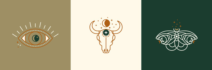 A set of mystical and esoteric logos in a trendy minimal linear style. Vector emblems butterfly, cow skull, eye, moon