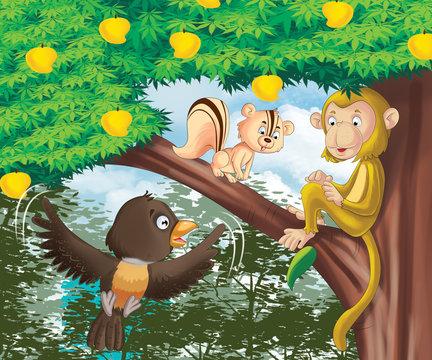 cartoon animal playing, monkey, bird, squirrel