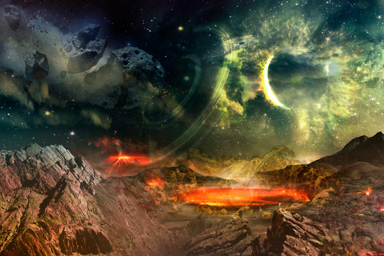 Alien planet explodes asteroid impact. Elements of this image furnished by NASA.