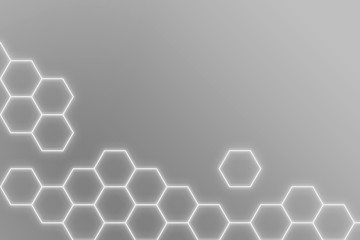 Glowing gray neon hexagonal patterned background