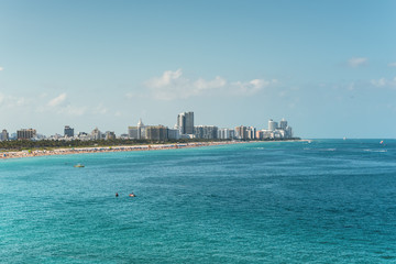 Wide angle view from the sea to the Miami Beach and South Point Park from a cruise ship in Miami, Florida, USA