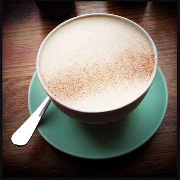 Close-up Of Chai Latte On Table