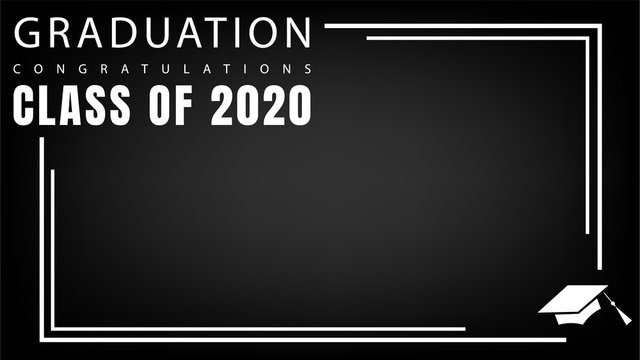 Graduation Class of 2020 Design Frame with cap graduation on black background ,Vector illustration EPS 10