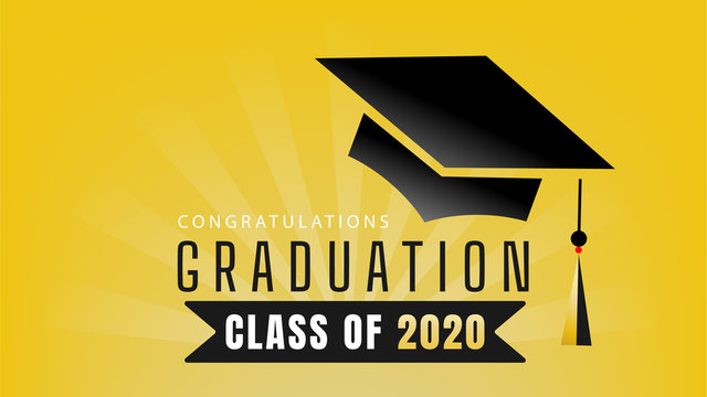 Graduation Class of 2020 Design Congratulations Template for graduation,  on yellow background ,Vector illustration EPS 10