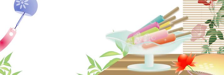アイスキャンディ―がある風景縁側にうちわや鬼灯朝顔に風鈴のイラストバナー素材