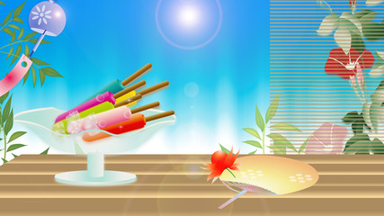 アイスキャンディ―がある風景縁側にうちわや鬼灯朝顔に風鈴のイラスト横スタイルワイドバーチャル背景素材