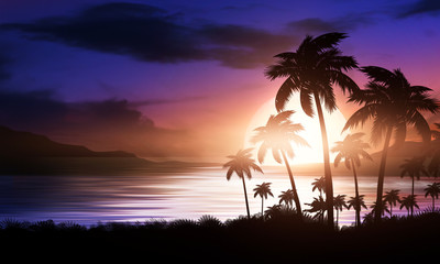 Night landscape with palm trees, against the backdrop of a neon sunset, stars. Silhouette coconut palm trees on beach at sunset. Vintage tone. Futuristic landscape. Neon palm tree. Tropical sunset. Wall mural