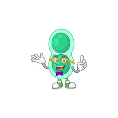 Wall Mural - Cartoon character design of nerd green streptococcus pneumoniae with weird glasses