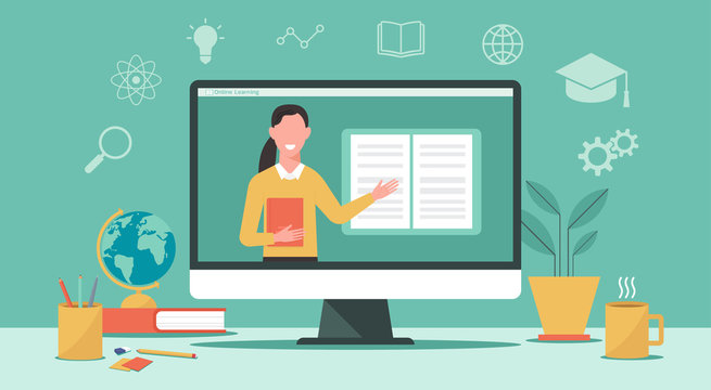 E-learning or online education, home school, woman teacher teaching on laptop computer screen, distance learning, online course concept, new normal, vector flat illustration