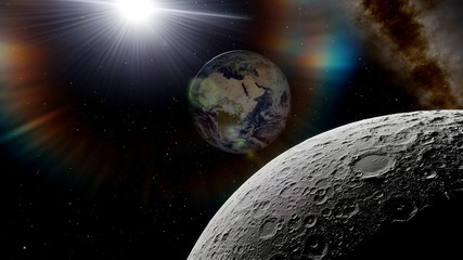 Wall Murals Nasa view from the moon to the Earth 3d render