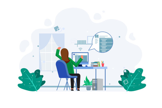 Student feel tired after  do online examination, e-learning concept. Business worker work from home. Male with computer illustration concept. Vector