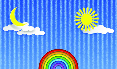 Rainbow on the blue sky background, sun, moon and clouds. Layered Paper art style