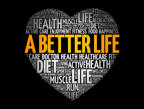 A Better Life heart word cloud, fitness, sport, health concept background