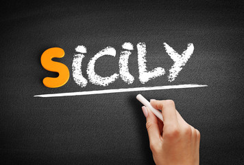 Sicily text on blackboard, concept background