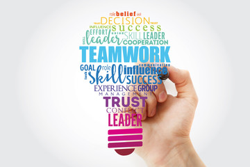 Teamwork light bulb word cloud, business concept background