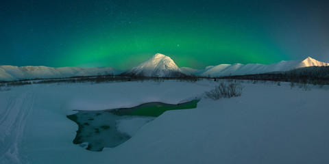 Northern Lights Night,Panoramic picture.