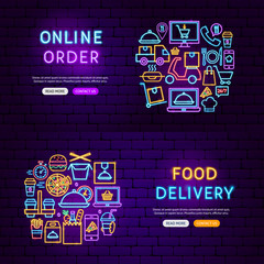 Food Delivery Neon Banners