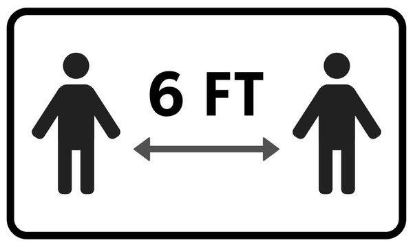 Keep 6 feet distance Sticker Sign