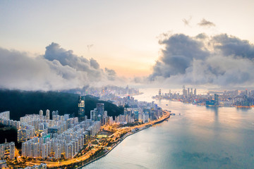 Wall Mural - Epic Aerial view of Victoria Harbour, focus on the East side of Hong Kong Island