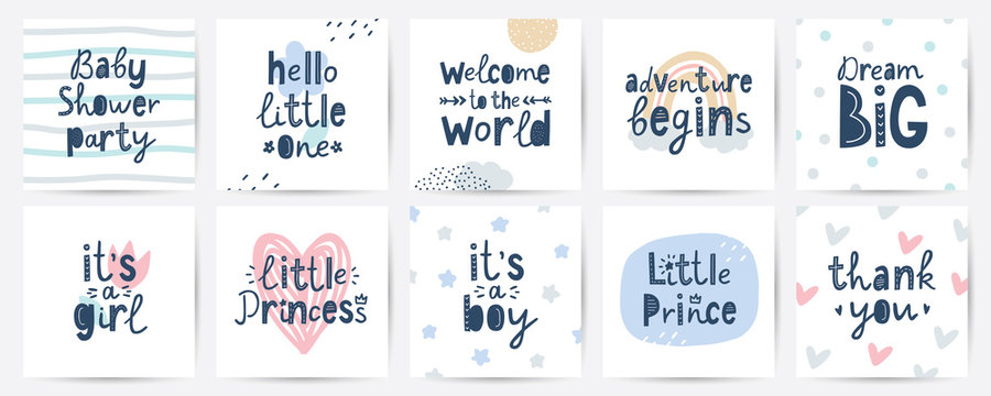 set of vector cards for baby shower party