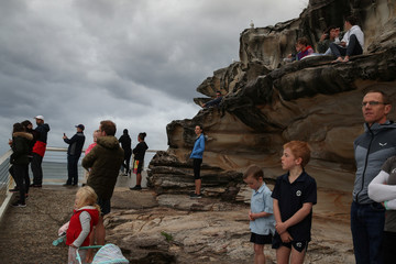Onlookers congregate amidst the easing of the coronavirus disease (COVID-19) restrictions to watch surfers in Sydney
