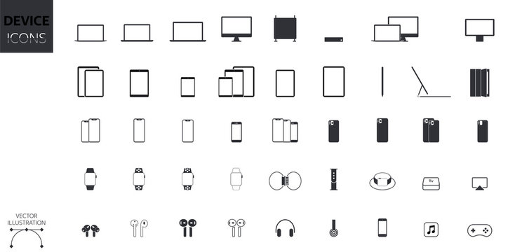 Device Icons Set: Desktop Computer, Laptop, Tablet, Smartphone, Headphones, Watch, Gadgets and Accessories . Vector Style for Websites and Apps