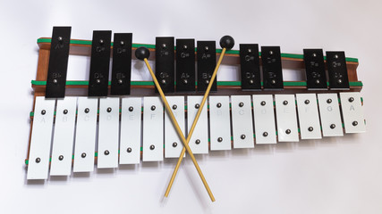 High Angle View Of Xylophone On Table