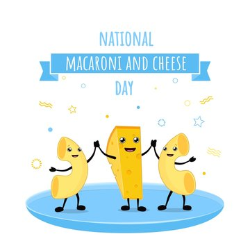 National Macaroni and Cheese Day Vector Illustration. Mac and cheese world day kawaii characters mascots on the plate. Isolated on white background.