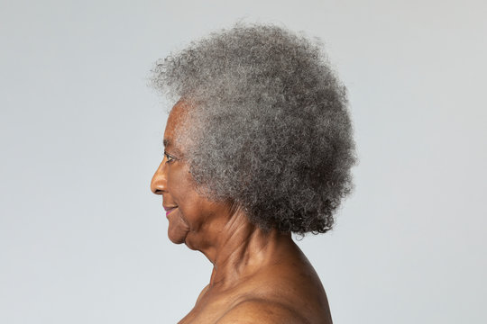 Senior African American woman in profile