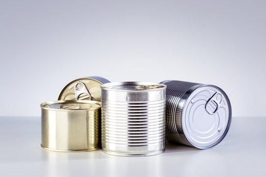 Canned Food. Different types of canned food on the table.
