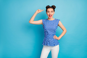 Keuken foto achterwand Honden I like it. Photo of beautiful pretty funky lady indicating finger head cute hairstyle two buns wear dotted blouse shirt white pants isolated blue color background